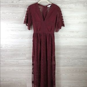 Romper Lace Embroidered Long Burgundy Floral